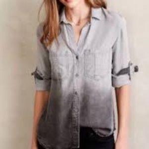 Anthro | Cloth & Stone Gray Ombré Button Down